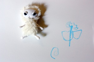 Cute little Polar Pixie with my daughter's flower drawing.